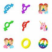 Sexual Minorities Icons Set. Cartoon Illustration Of 9 Sexual Minorities Icons For Web poster