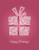 image of happy birthday  - Detailed pink Happy Birthday card - JPG