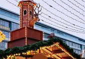 Постер, плакат: Decoration At Christmas Market At Kaiser Wilhelm Memorial Church In Winter Berlin Germany Advent F