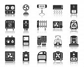 Hvac Silhouette Icons Set. Monochrome Web Sign Kit Of Climatic Equipment. Fan Pictogram Collection I poster