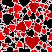 image of playing card  - Playing cards symbols seamless pattern  - JPG