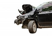 Car Destroyed Isolated On White Background,car Accident For Insurance Business Concept,front Of Blac poster
