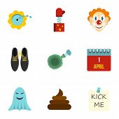 April Fool Day Icons Set. Flat Illustration Of 9 April Fool Day Icons For Web poster