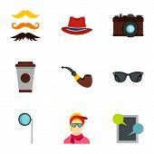 Hipster Culture Icons Set. Flat Illustration Of 9 Hipster Culture Icons For Web poster