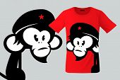 Monkey With Beret, T-shirt Design, Modern Print Use For Sweatshirts, Souvenirs, Cases For Mobile Pho poster