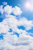 Blue Sky Landscape With Sunshine And White Beautiful Clouds In Sunny Sky. Sky Landscape Scene, Blue  poster