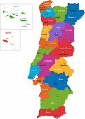 foto of cartographer  - Colorful Portugal map with regions and main cities - JPG