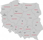 foto of cartographer  - Map of administrative divisions of Poland with capital cities - JPG