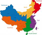 Colorful administrative divisions of China with capital cities