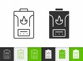 Gas Boiler Black Linear And Silhouette Icons. Thin Line Sign Of Water Heater. Climatic Equipment Out poster