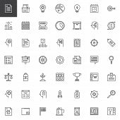 Business Productivity Outline Icons Set. Linear Style Symbols Collection, Line Signs Pack. Vector Gr poster
