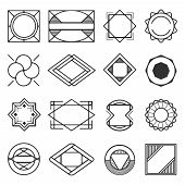 Collection Of Universal Black Geometric Shapes. Simple Geometric Elements. Set Of Line Abstract Geom poster