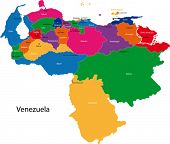 Map of the Bolivarian Republic of Venezuela with the states colored in bright colors and the main ci
