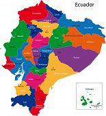 picture of guayaquil  - Map of the Republic of Ecuador with the regions colored in bright colors and the main cities - JPG