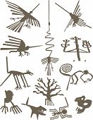 stock photo of geoglyph  - Silhouettes of Nazca Lines geoglyphs vector illustration - JPG