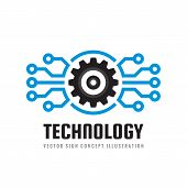 Technology - Concept Business Logo Template Vector Illustration. Globe World And Gear Symbols. Cogwh poster