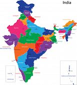 Map of the Republic of India with the states colored in bright colors