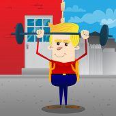 Schoolboy Weightlifter Lifting Barbell. Vector Cartoon Character Illustration. poster
