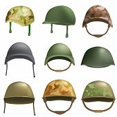 Army Helmet Soldier Military Hat Mockup Set. Flat Illustration Of 9 Army Helmet Soldier Military Hat poster