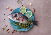 Fresh Dorado Fish. Dorado And Cooking Ingredients - Rosemary, Spices, Lemon, Garlic, Thyme, Herbs. C poster