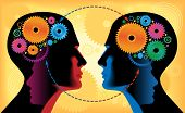 stock photo of face painting  - Two heads of people with mechanisms - JPG