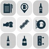 Alcohol Icons Set With Vodka, Bar, Placard And Other Pub Place Elements. Isolated Vector Illustratio poster