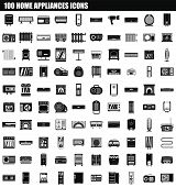 100 Home Appliances Icon Set. Simple Set Of 100 Home Appliances Icons For Web Design Isolated On Whi poster