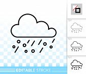 Rain Thin Line Icon. Outline Isolated Sign Of Hail. Cloud Linear Pictogram With Different Stroke Wid poster