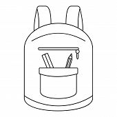 College Backpack Icon. Outline College Backpack Icon For Web Design Isolated On White Background poster