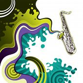 Designed psychedelic banner with saxophone. Vector illustration.