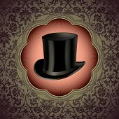 picture of gents  - Vintage floral background with top hat - JPG