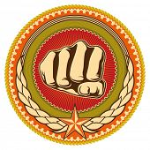 Illustrated retro emblem with fist. Vector illustration.