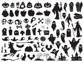 Halloween Silhouettes. Spooky Evil Witch, Creepy Grave Coffin And Wizard Silhouette. Pumpkin, Spider poster