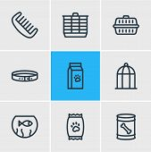 Illustration Of 9 Fauna Icons Line Style. Editable Set Of Hamster Cage, Dog Food, Kibble And Other I poster