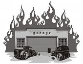 Rat rods garage. Vector illustration.