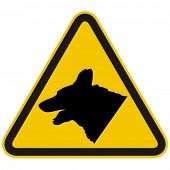 Guard dogs warning sign. Vector illustration.