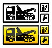 image of towing  - Roadside assistance car towing truck icon - JPG