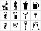 Vector black drinks & beverages icons set. All white areas are cut away from icons and black areas m