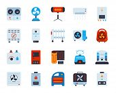 Hvac Flat Icons Set. Web Sign Kit Of Climatic Equipment. Fan Pictogram Collection Includes Hygromete poster