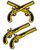 picture of crossed pistols  - Percussion and Flintlock Muzzle Loading Pistols in vectors - JPG