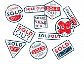 Vector Retro Shabby Stamps In Mess Saying Sold Out Isolated On White Background poster