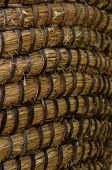 Wicker Or Rattan Basket Texture. Basket For Straw. High-resolution Seamless Texture. Vertical Photo. poster