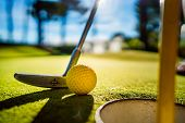 Mini Golf yellow ball with a bat near the hole at sunset poster