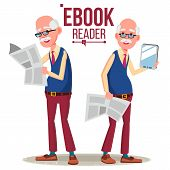 E-book Reader Vector. Old Man. Paper Book Vs E-book. Isolated Flat Cartoon Illustration poster