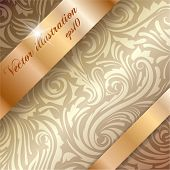 Seamless pattern with golden ribbons over it with copyspace