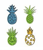 Ananas Icon Set. Color Outline Set Of Ananas Icons For Web Design Isolated On White Background poster