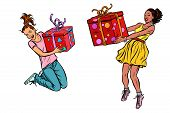 Two Girls Joyful With Gifts. Pop Art Retro Vector Illustration Kitsch Vintage Drawing poster