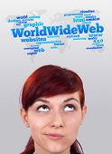stock photo of gril  - Young gril head looking with gesture at internet type of icons - JPG