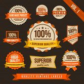 Vintage style of orange and brown label badge sticker collection