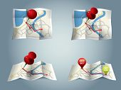 stock photo of gps  - City map with GPS Icons and route - JPG